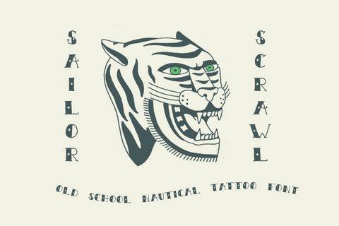 Sailor Scrawl traditional tattoo font by Out of Step Font Company