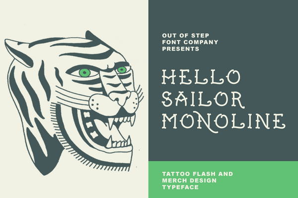 Hello Sailor Monoline old school traditional tattoo font