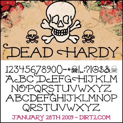 Dead Hardy Is A Natural Feel Hand Drawn Thinline Old School Tattoo Font With Some Special Extras The Features An Uppercase Letter Set Filled