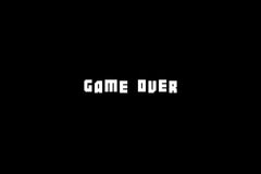 Game Over screen featuring Botsmatic font by Out of Step Font Company