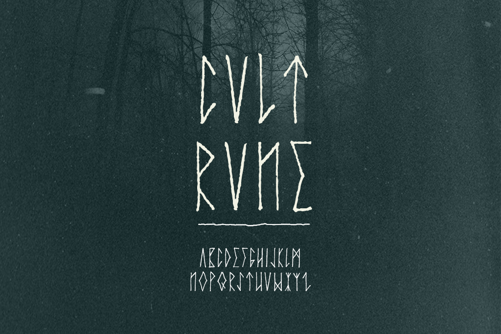 Cvlt Rvne runic streetwear and merch design font typeface by Out of Step Font Company