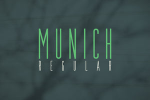 Munich Regular Condensed Film Poster Font by Out of Step Font Company