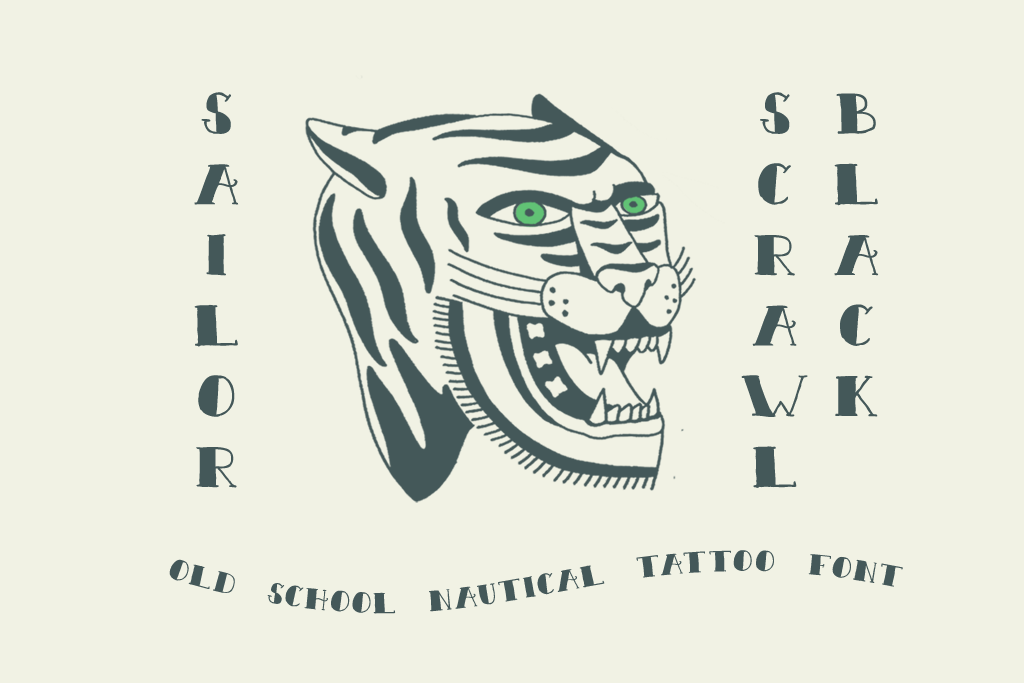 Sailor Scrawl Black Old School Nautical Tattoo Font by Out of Step Font Company