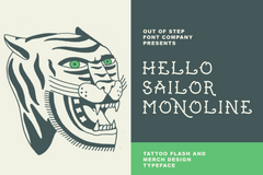 Hello Sailor Monoline Tattoo font by Out of Step Font Company