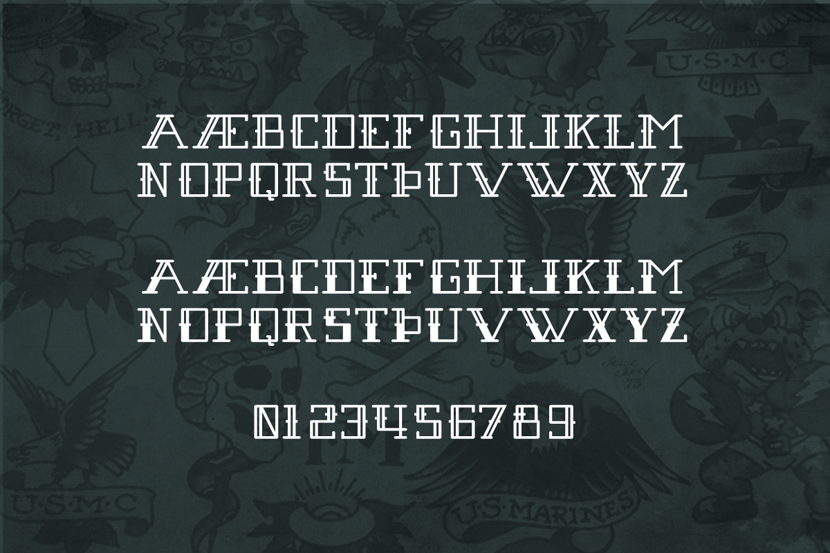 Modern square nautical tattoo font