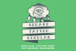 Square Tattoo Regular modern nautical sailor tattoo font by Out of Step Font Company