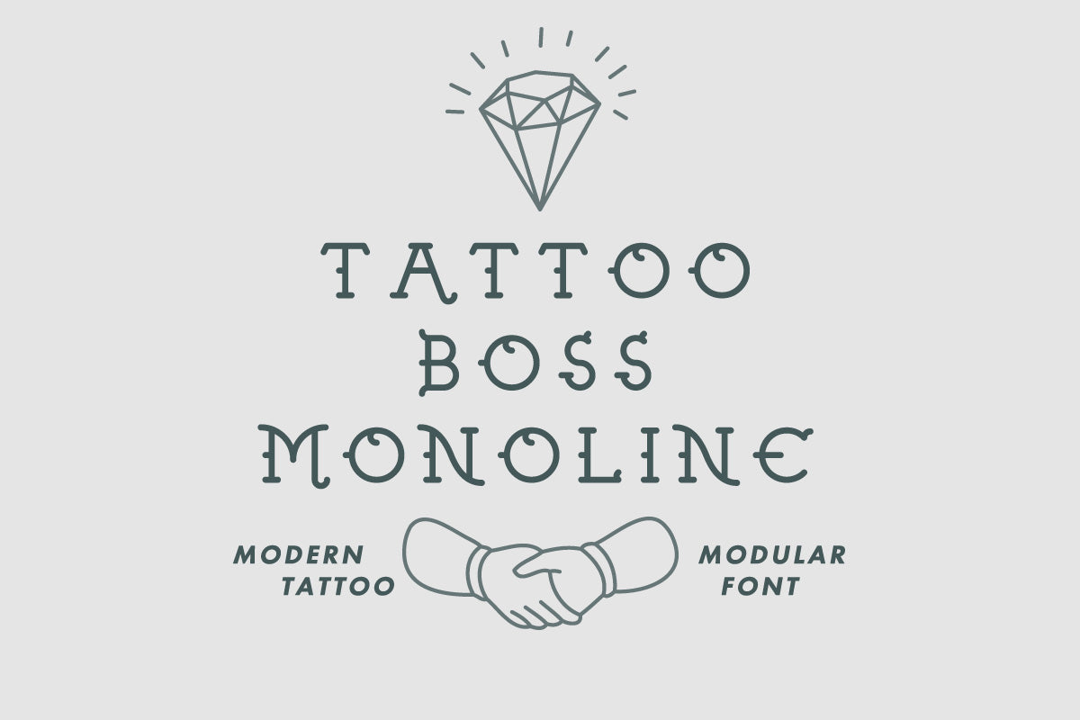 Tattoo Boss Monoline modern modular font by Out of Step Font Company
