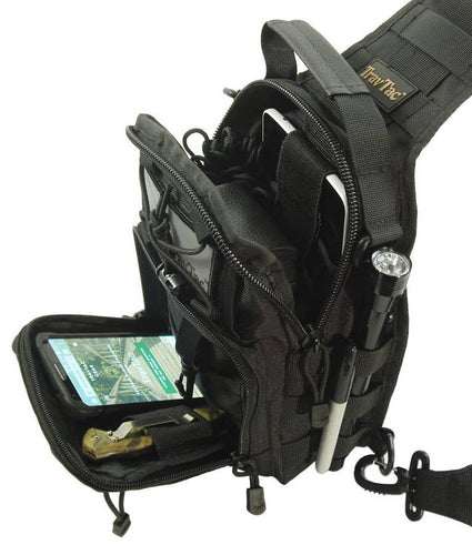 TravTac Stage I Sling Bag, Premium Small EDC Tactical Sling Pack 900D - Black with sample items - TravTac.com