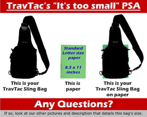 TravTac Metro Sling Bag Small EDC Pack size guide