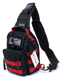 TravTac Stage II Sling Bag, Premium Small EDC Tactical Sling Pack 900D – Red on Black - TravTac.com