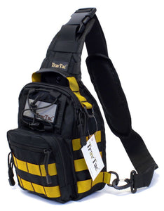 TravTac Stage II Sling Bag, Premium Small EDC Tactical Sling Pack 900D – Yellow on Black - TravTac.com