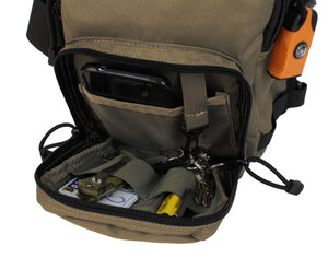 TravTac Metro Sling Bag Small EDC Pack front pocket with example items