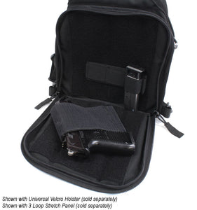 TravTac Onyx Tactical Sling Bag - rear view open Concealed Carry