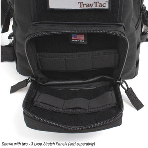 TravTac Onyx Tactical Sling Bag front pocket with addons