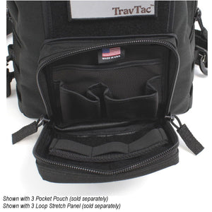 TravTac Onyx Tactical Sling Bag front pocket with addons 2