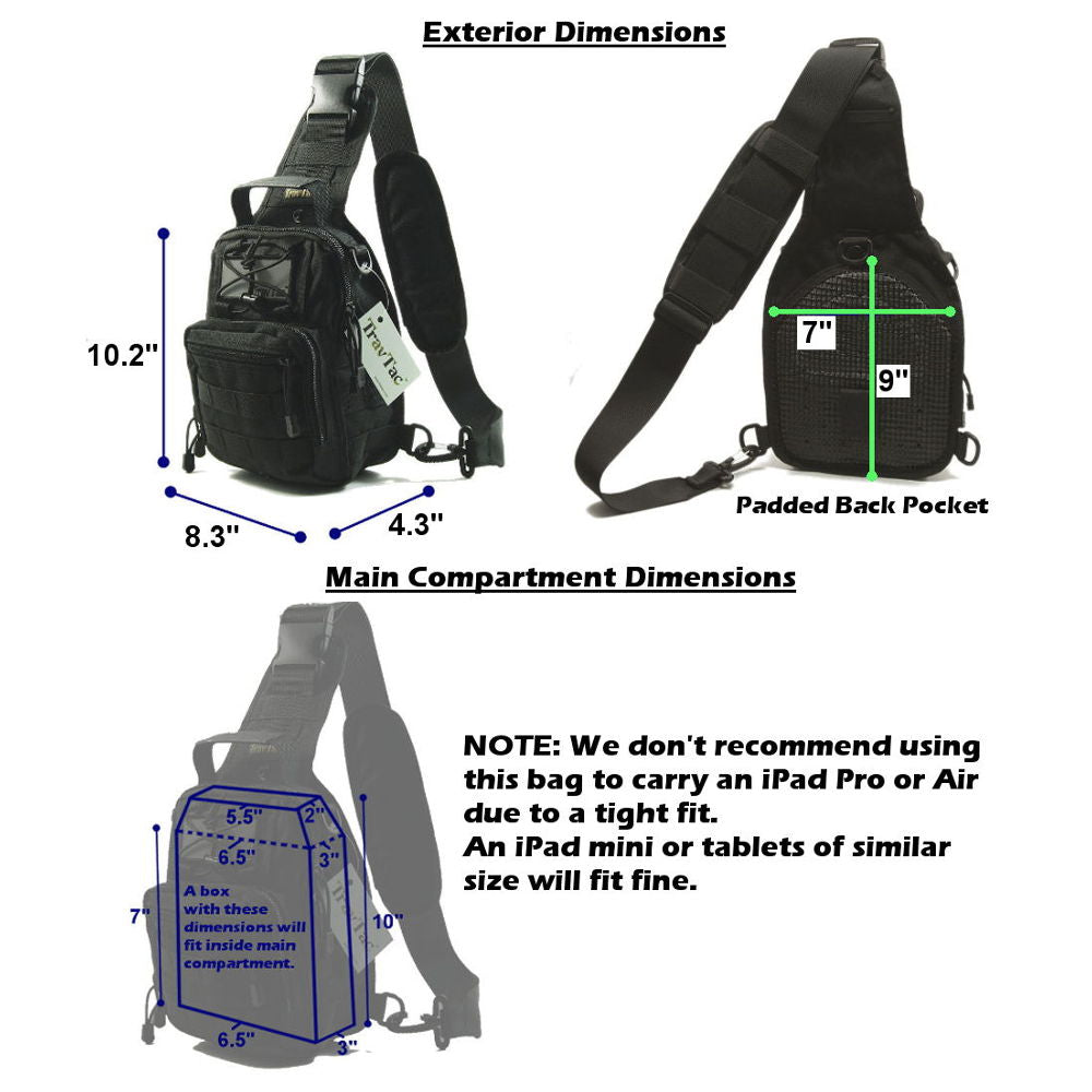 6a435bc3b419 TravTac Stage II Sling Bag, Premium Small EDC Tactical Sling Pack 900D