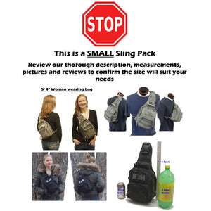 TravTac Tactical Sling Pack Stage II EDC Sizing message