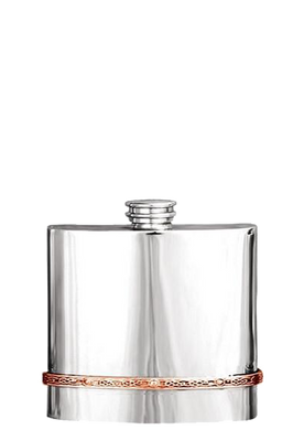 Pewter Flask with Copper Band
