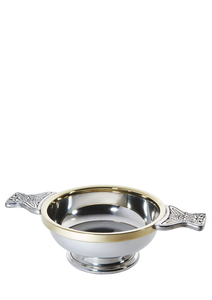 "4"" Pewter Quaich with brass rim"