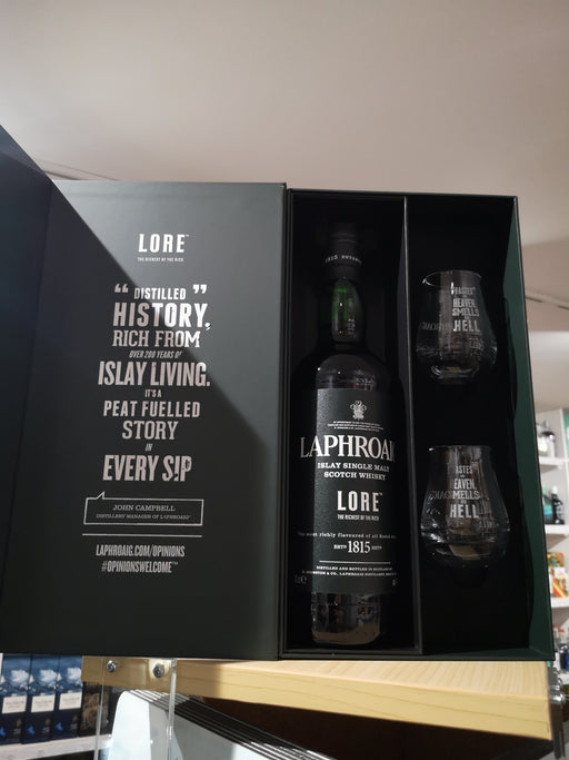 Laphroaig Lore 70cl with two glasses
