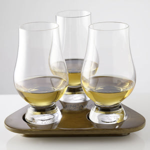 Glencairn Flight Tray with 3 glasses