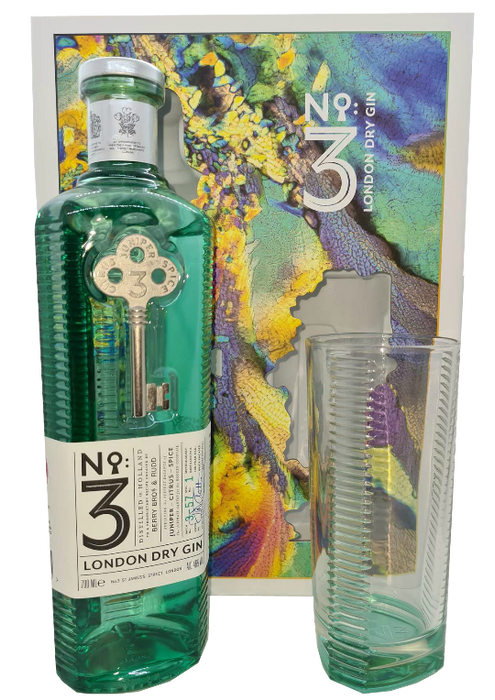 No 3 London Dry Gin Gift Pack with Highball Glass