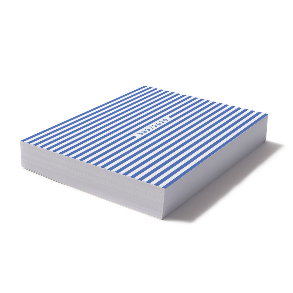 365 Calendar Note Block - Large Light Blue Stripes
