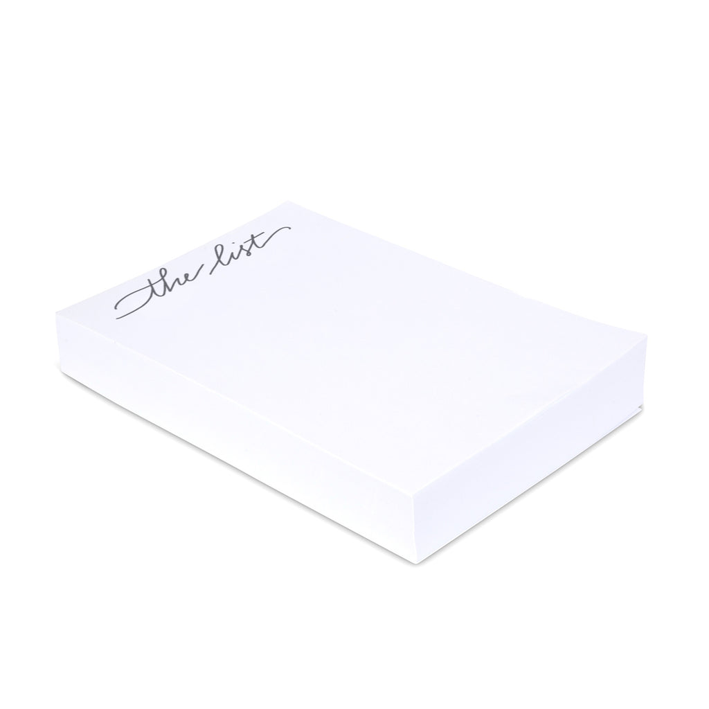 "Medium Calligraphy Note Block - ""The List"" - Printed Matter"