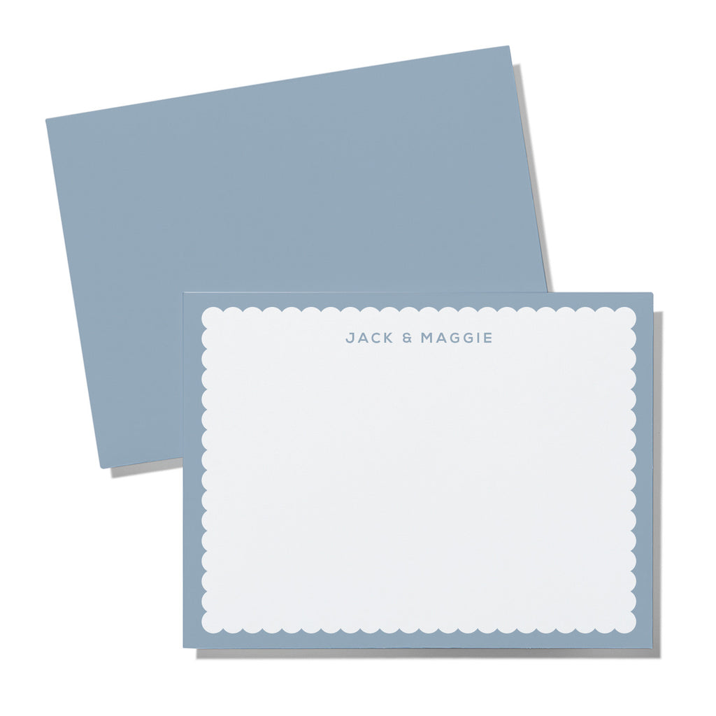 Scallop border - pale blue, green, grey, hot & pale pink - Printed Matter