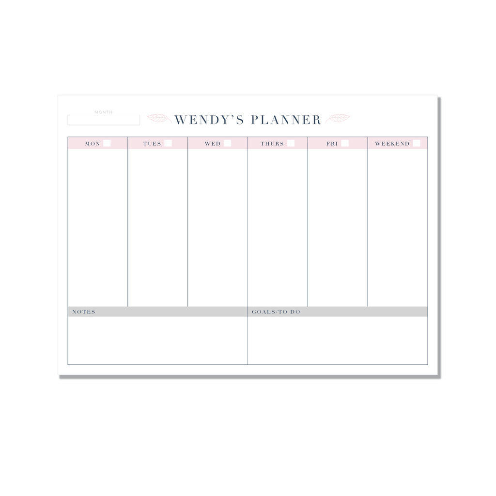 Personalized weekly planner - FLORAL - Printed Matter