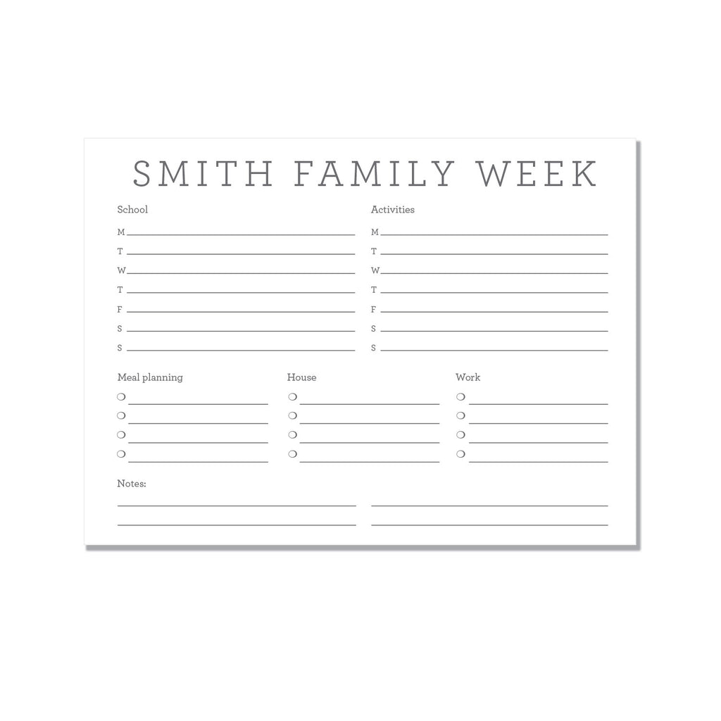 Family Weekly Planner - Printed Matter
