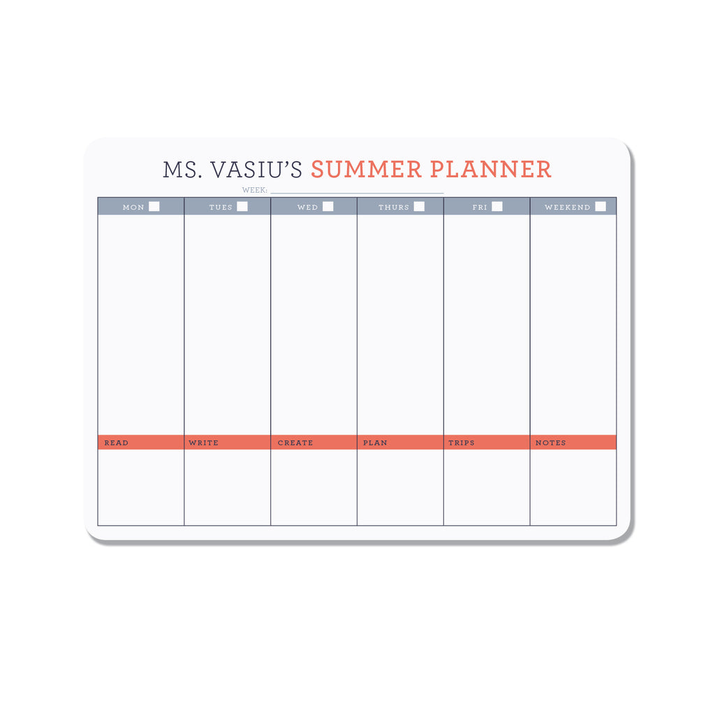 Personalized teachers planner - Orange - Printed Matter
