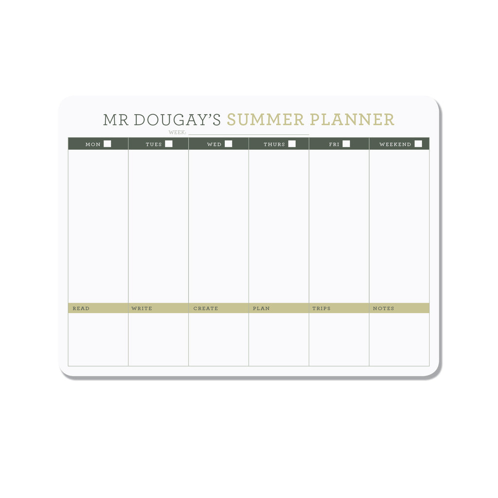 Personalized teachers planner - Green - Printed Matter