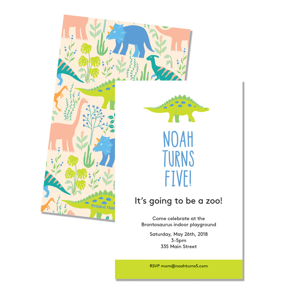 Dino Birthday Invitation - Printed Matter