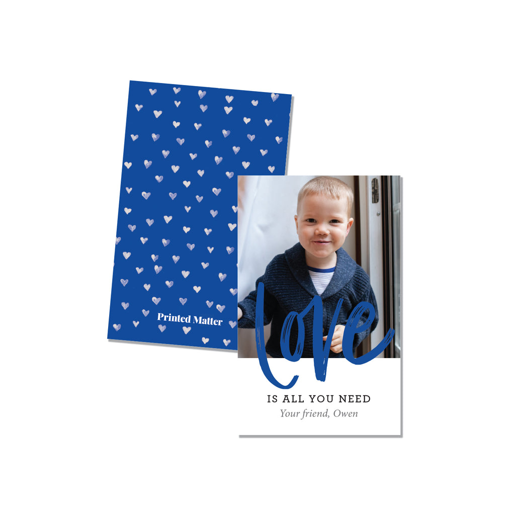 Love is all you need Blue (Personalized Photo Card) - Printed Matter