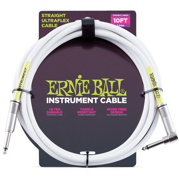 Ernie Ball Ultrflex 10ft Guitar Cable Straight - Angle Jack in White - P06049