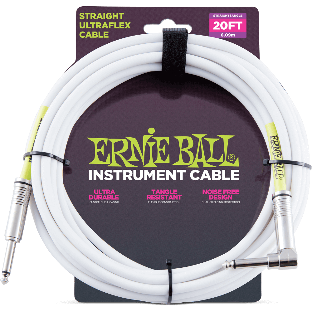 Ernie Ball Ultraflex 20' Guitar Cable -Straight/ Angled Jack in White
