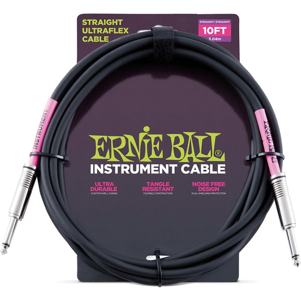 Ernie Ball Black Guitar Cable 10ft Long - P06048