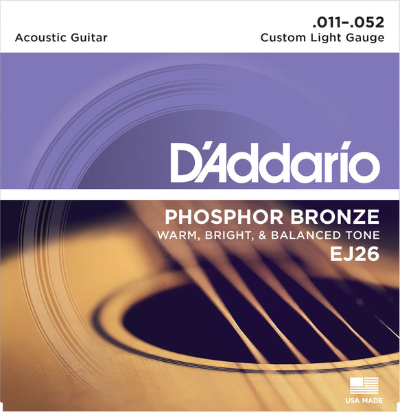 D'addario EJ26 Phosphor Bronze Acoustic Guitar Strings - 11 - 52 Custom Light  Guitar Strings