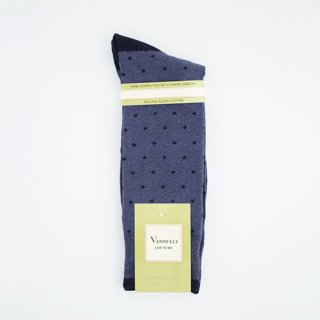 Denim Blue with Navy Dot Socks