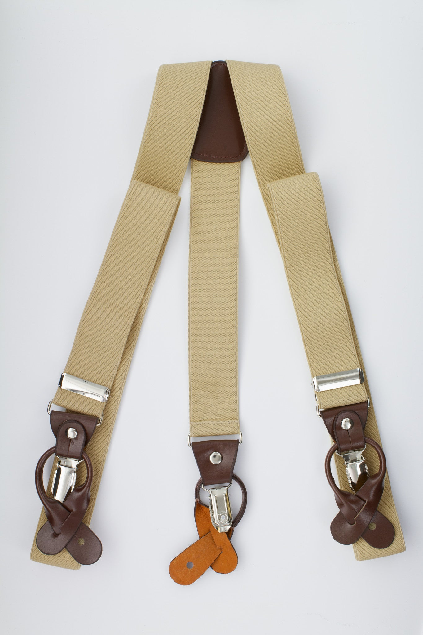 Beige Button and Clip Suspenders