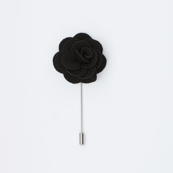 Black Rosette Lapel Pin