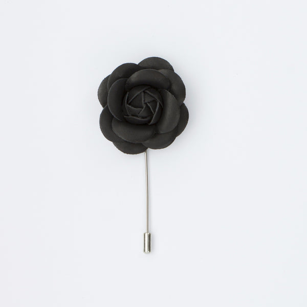 Black Leather Rosette Lapel Pin
