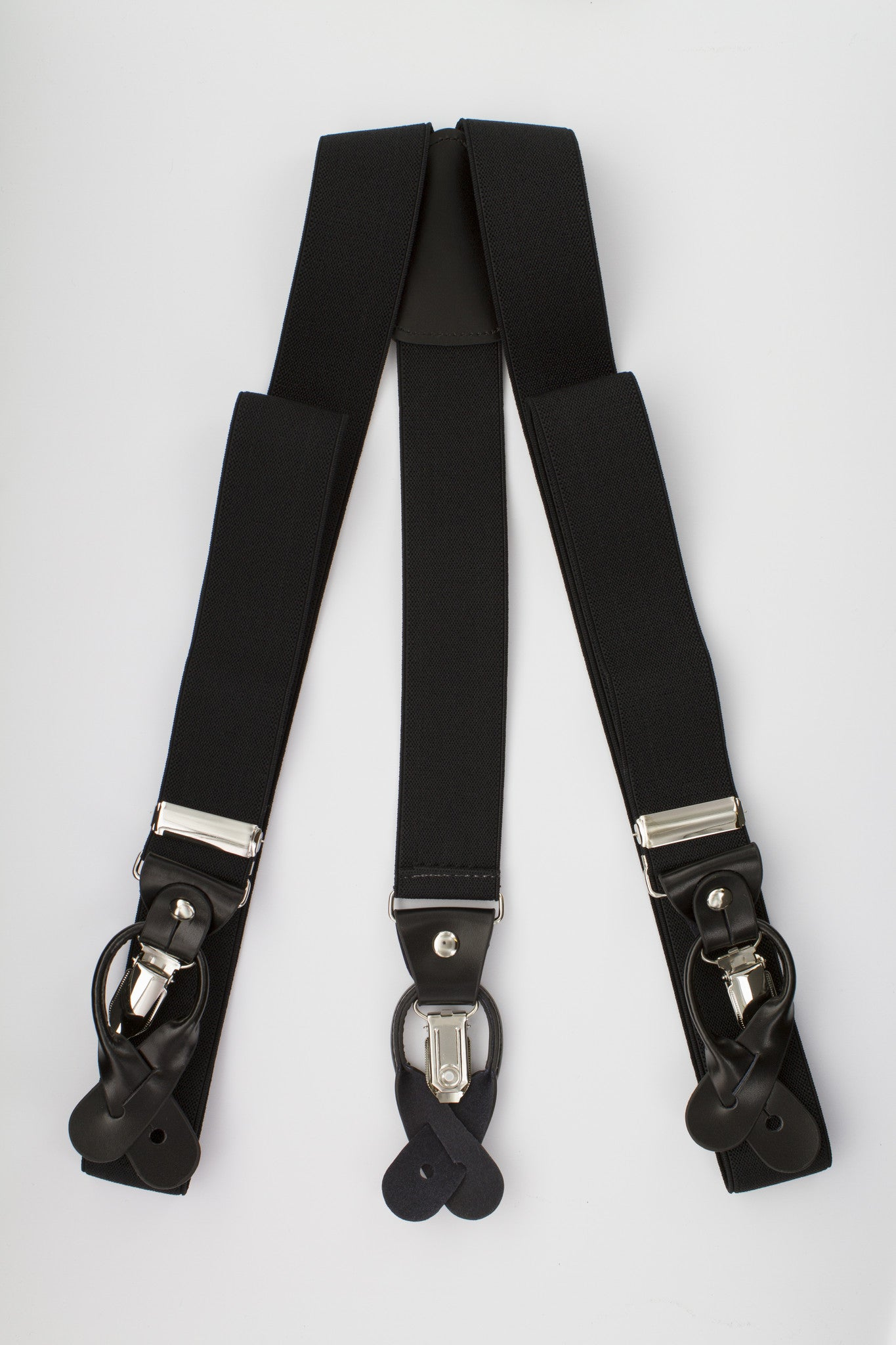 Black Button and Clip Suspenders