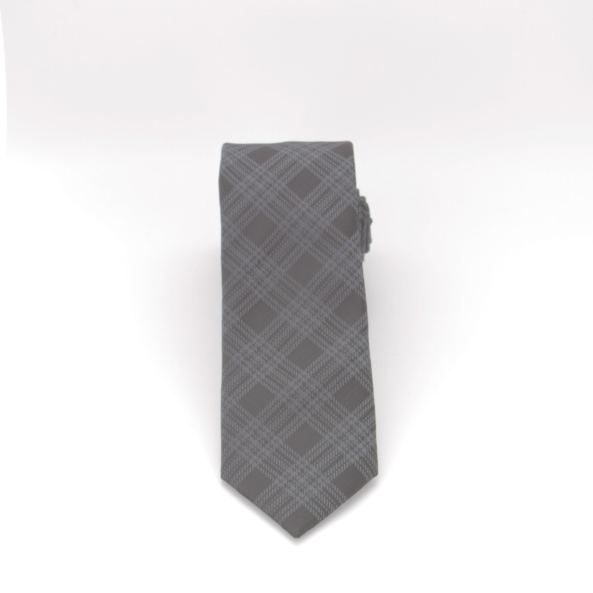 Black and Grey Plaid Long Tie