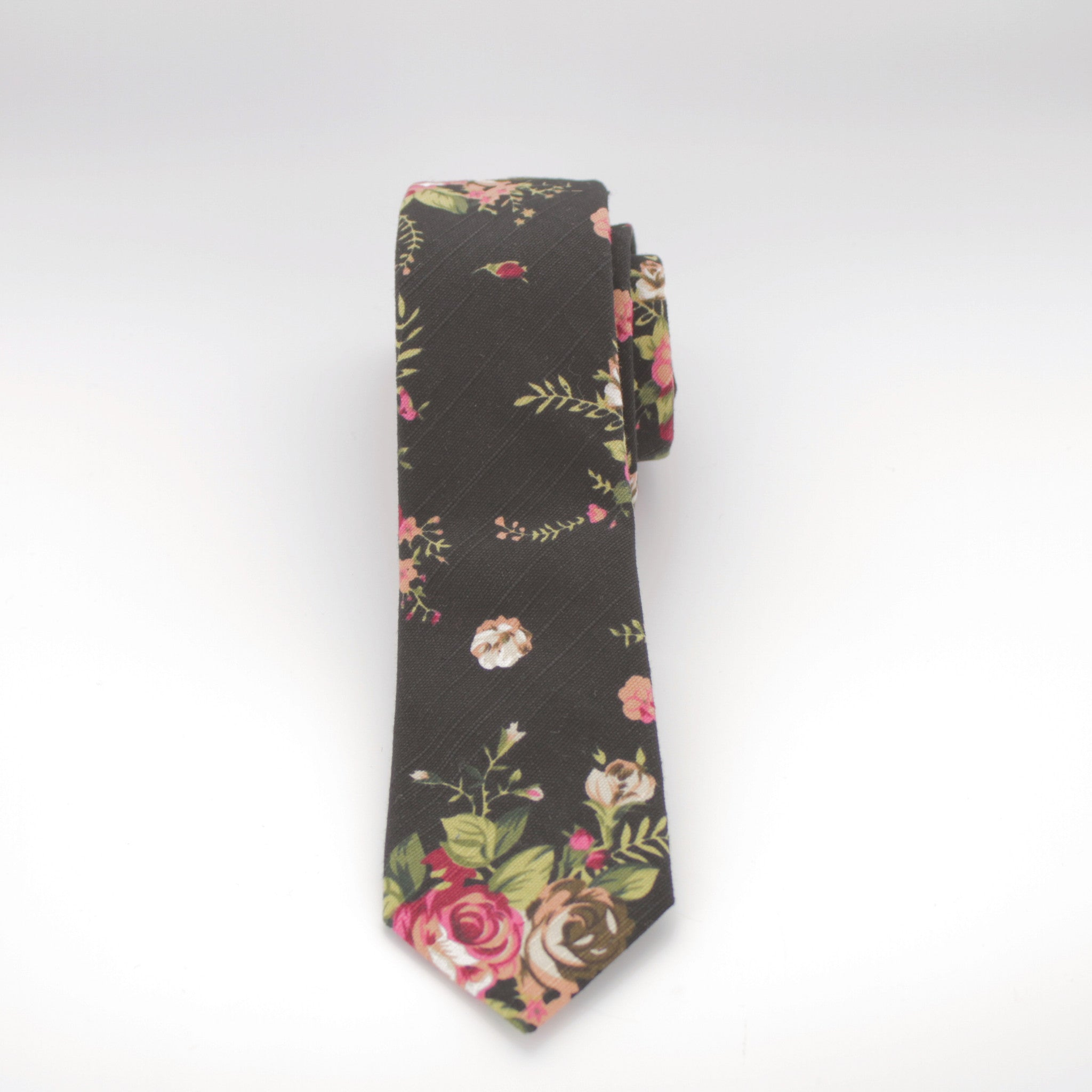 Black and Pink Floral Print Tie