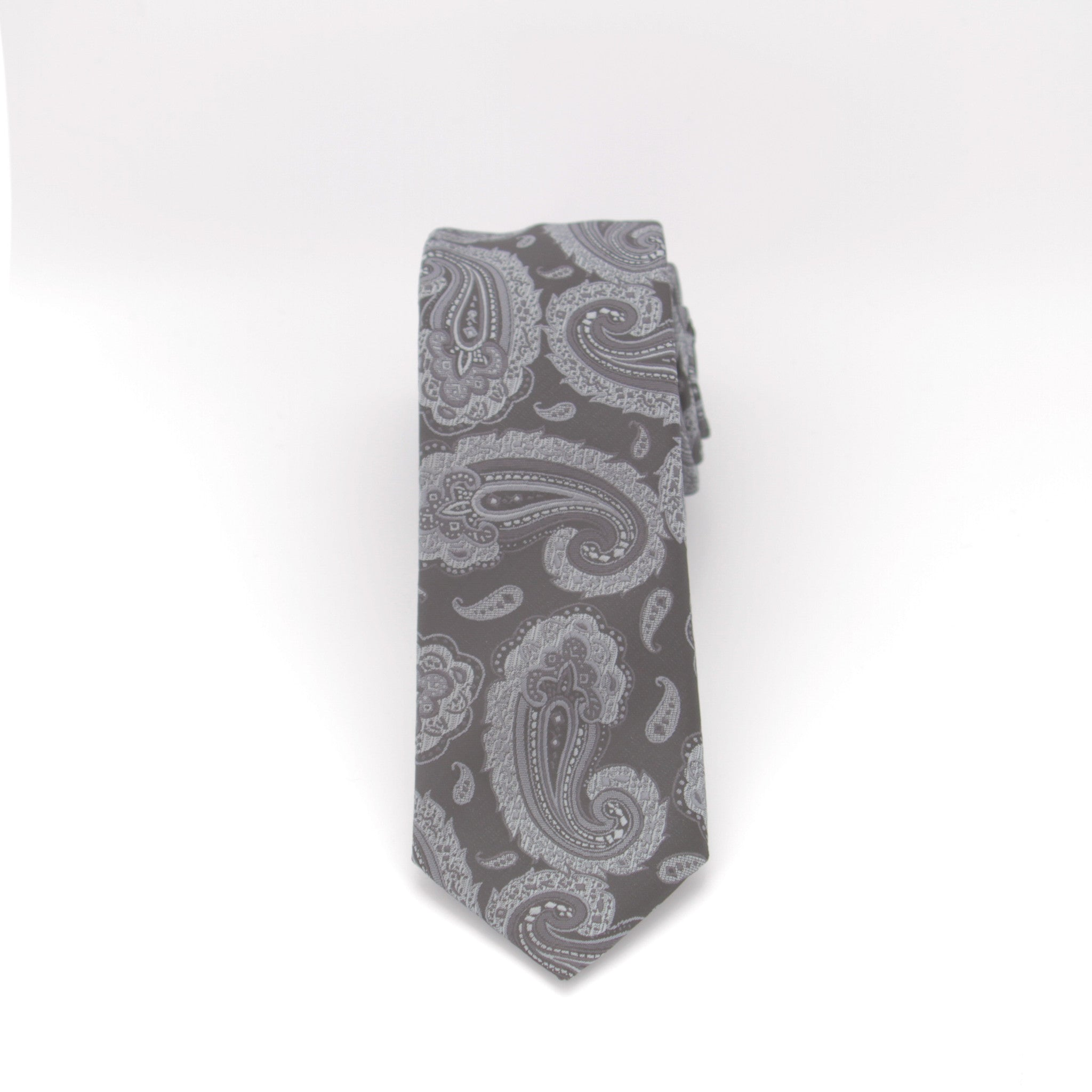 Black and Silver Paisley Long Tie