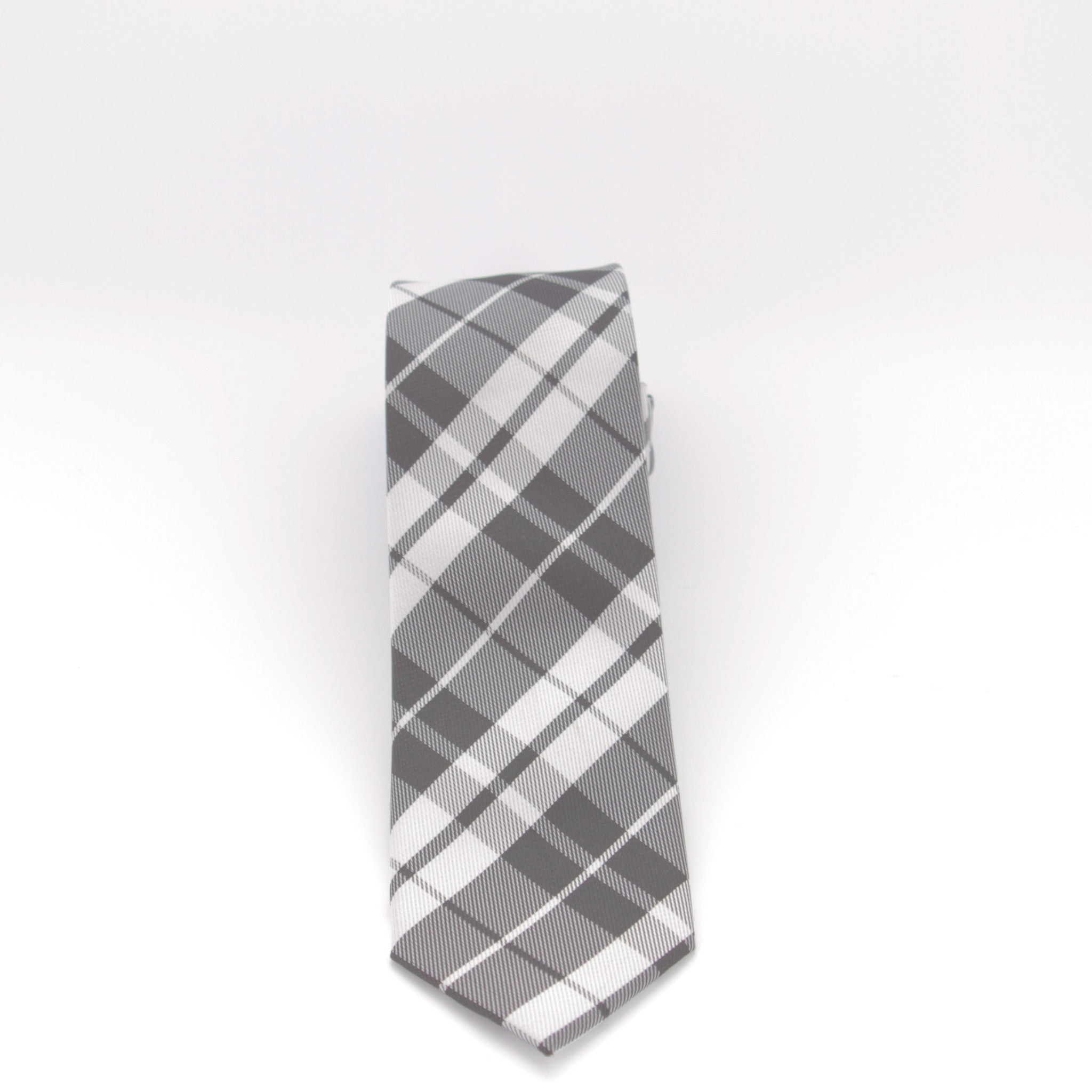 Black and White Plaid Long Tie