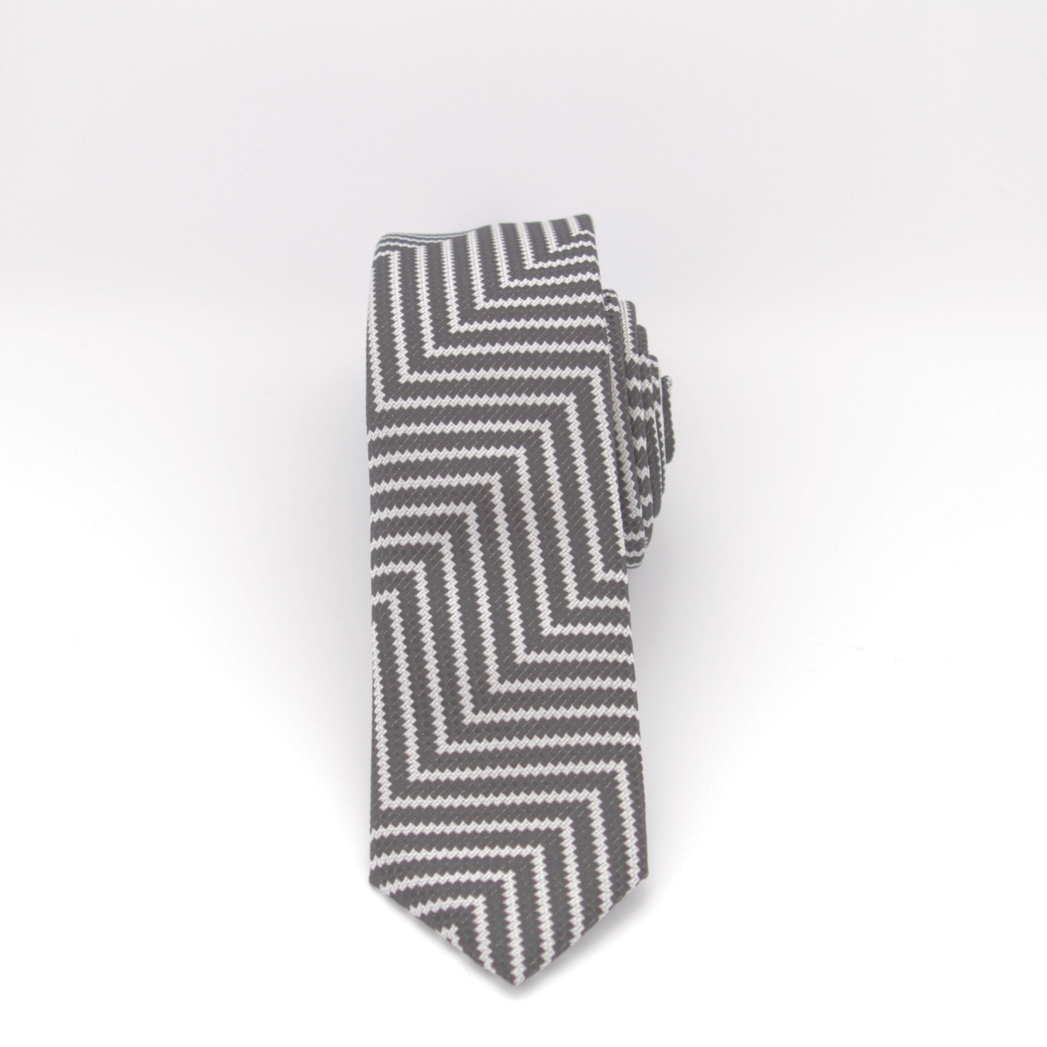 Black and White Zig-Zag Long Tie
