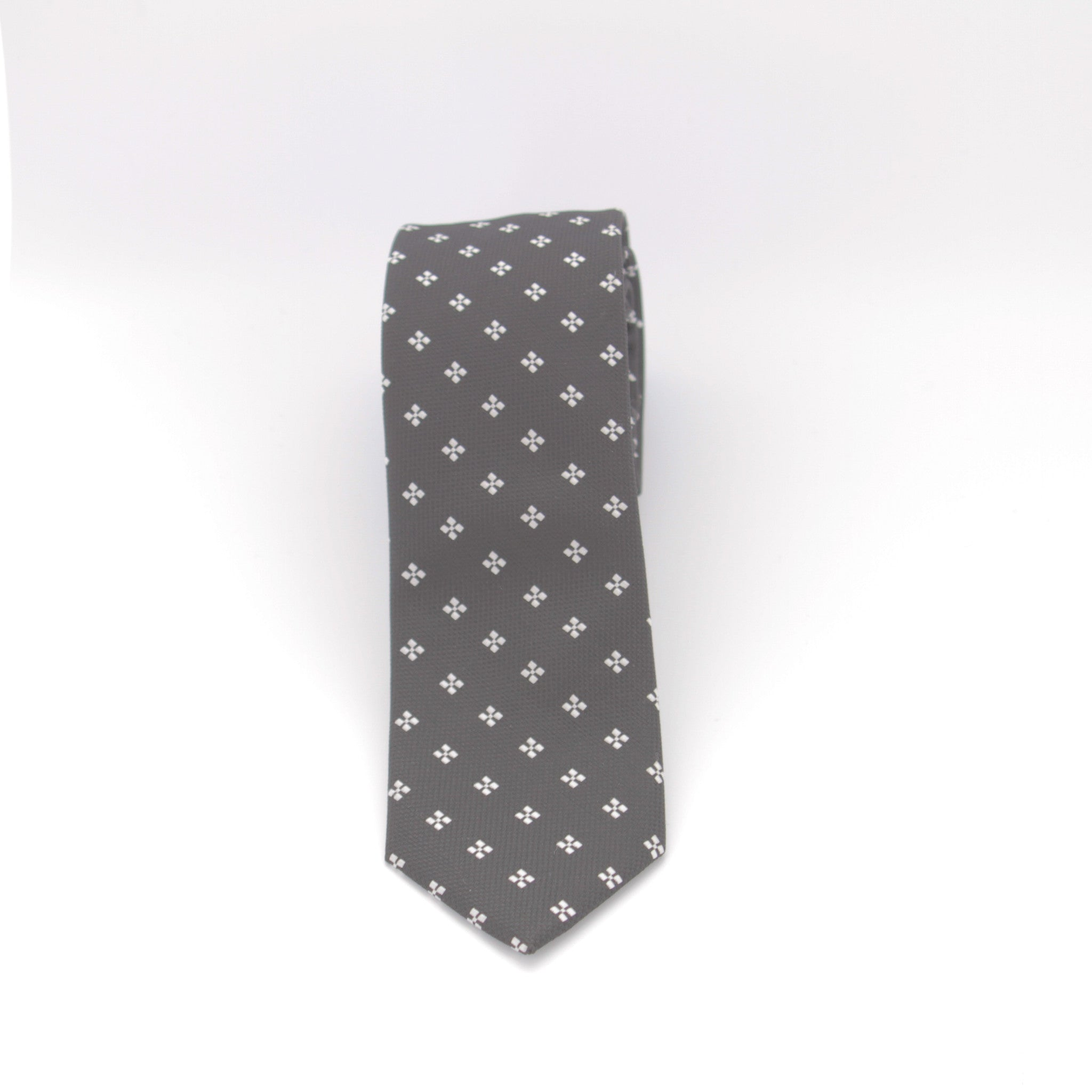 Black with White Diamond Dot Long Tie